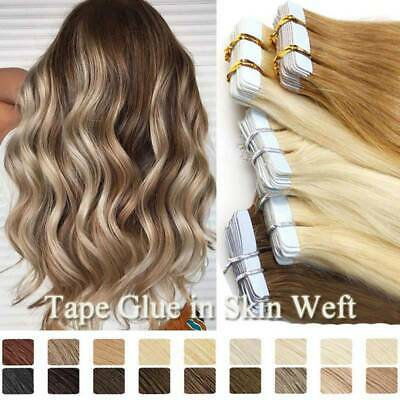 Balayage Thick Tape In on Remy Human Hair Extensions Skin Weft Full Head 100G AU
