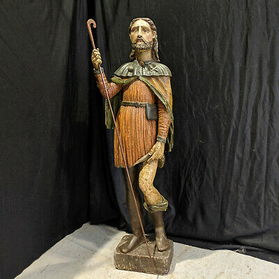 18th Possibly 17th Century Carved Wooden Portuguese Statue of St Roc