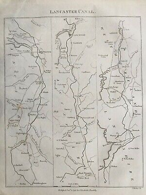1795 Antique Map; Plan of the Lancaster Canal after Mutlow