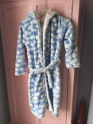 M&S Baby Blue Cloud Dressing Gown With Hood Age 9-10 Super Soft!