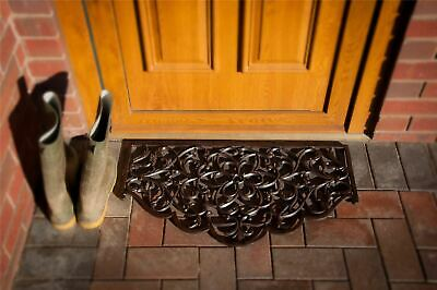 Large Ornate Cast Iron Arched Door mat with a Satin Black Finish