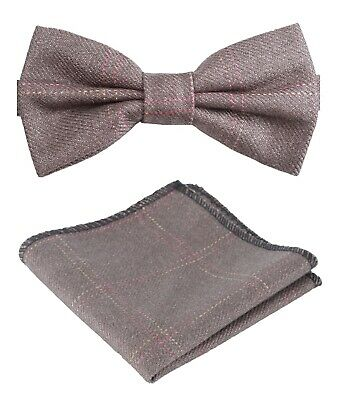 Mens Boys Matching Check Tweed Dickie Bow Tie & Pocket Square Set in Tan Brown