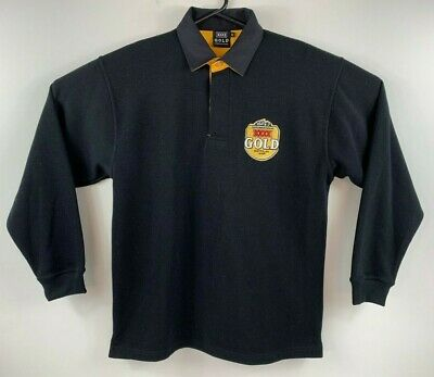 XXXX Gold Beer Men's Long Sleeve Polo Shirt Thick Fabric - Like New! Promo Item