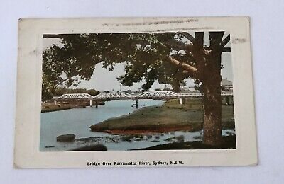 Vintage Australian Postcard 1910 Bridge Over Parramatta River Sydney NSW