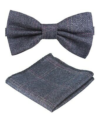 Mens Boys Matching Check Tweed Dickie Bow Tie & Pocket Square Set in Grey