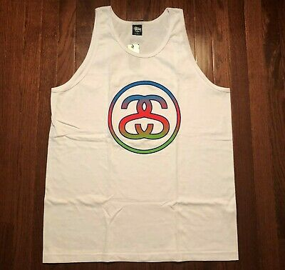 New Stussy Tank Top T Shirt Mens Xl White Blue Red Green Ss Link Fade Nwt