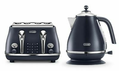 Delonghi Icona Rapid Boil Kettle and 4 Slice High Lift Toaster Set in Ocean Blue