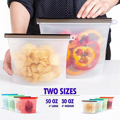 Reusable Food Storage Silicone Bags Leak-Proof Fresh Ziplock Produce Bags