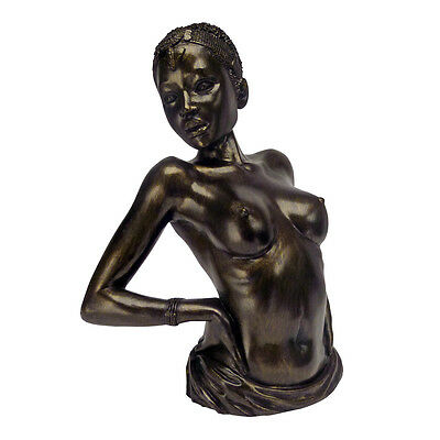 Feminine Stretching Nude Female Baring Chest Back Arch Faux Bronze Finish Statue