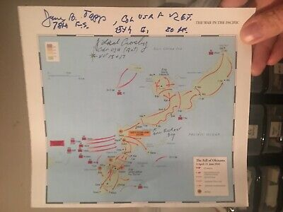 2 Aces OKINAWA NAVY CROSS Ted Crosby and James Tapp SIGNED BATTLE MAP