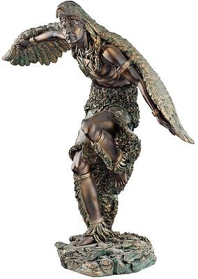 "12"" Native American Indian Dancing Eagle Warrior Faux Bronze Statue Sculpture"