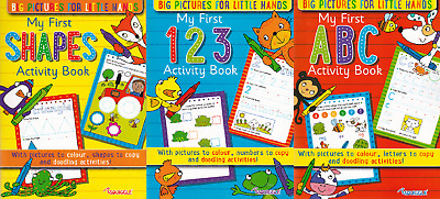 3 X First Learning Age 3-4 Numbers, Abc & Shapes Books Colour Copy Trace