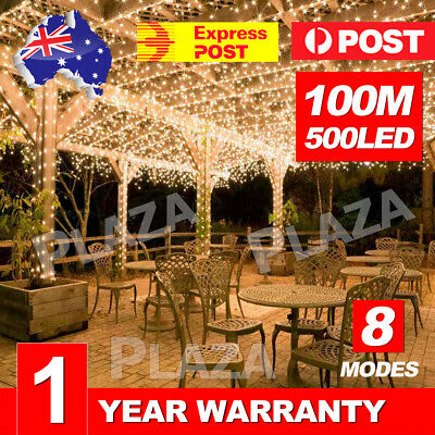 Warm White 500LED 100M Waterproof Christmas Fairy String Lights Wedding Garden