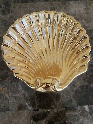 VINTAGE Signed Italian Hand Painted Gold Clam Shell Scallop Trinket Dish MCM