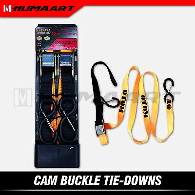 Cam Buckle Tie-Down Strap Ramps Towing Belt for Motorcycle Dirt Bike Quad Cargo