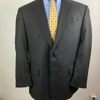 Jos.A. Bank Signature Collection 42R 2 Btn Brown Box Check Silk/Wool Sport Coat