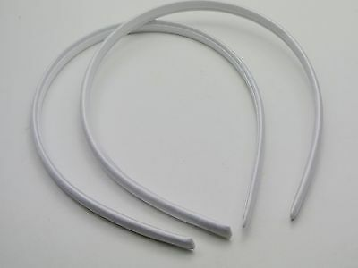 10 White Plastic Headband Covered Satin Hair Band 9mm for DIY Craft