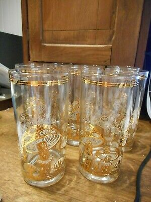 8 Culver Mushroom High Ball Glasses 22K Gold Encrusted Mid Century Barware NEW
