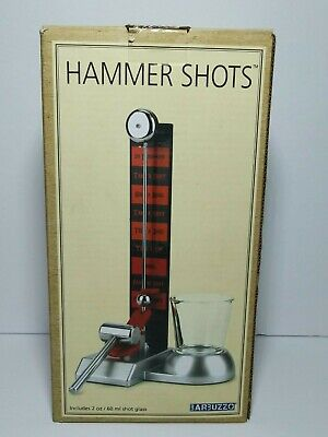 Barbuzzo Hammer Game Shot Glass Set Hit The Bell Drinking Game NEW