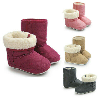 Kids Baby Girl Snow Boots Winter Warm Fur Lined Shoes Leather Soft Sneakers cvnj
