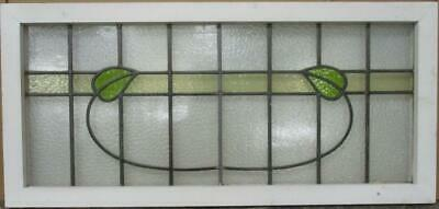 "OLD ENGLISH LEADED STAINED GLASS WINDOW TRANSOM Simple Leafy Sweep 39.5"" x 18.5"""