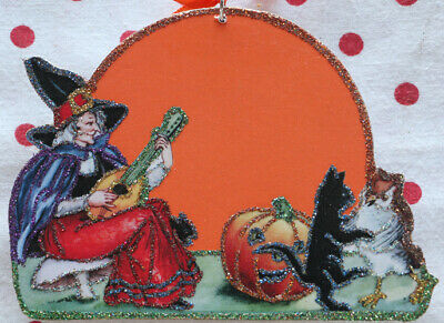 Glittered Wooden Halloween Ornament~Witch Moon & Music~ Vintage Image