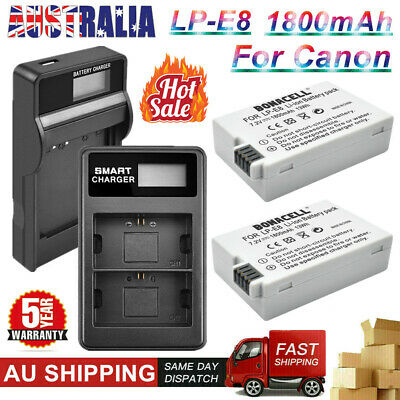 2x LP-E8 Battery / LCD Dual Charger For Canon EOS 550D 600D 650D 700D Kiss X4 X5