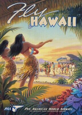 Hawaii by Pan Am, 1930's, Classic Reproduction Vintage Art Deco Travel Poster