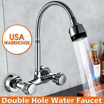 360° Dual Handle Kitchen Hot&Cold Basin Sink Faucet Tap Spout Head Water Sprayer