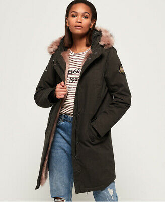 New Womens Superdry Frankie Faux Fur Lined Parka Jacket Khaki