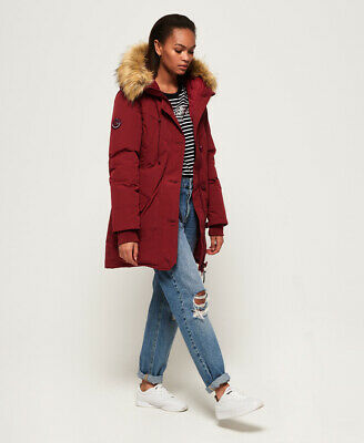 New Womens Superdry Rookie Down Parka Jacket Red Plum