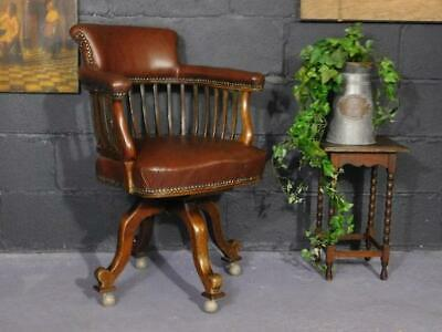 A Good Quality Antique Swivel Revolving Library Desk Chair