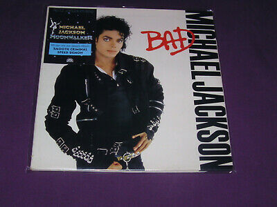 MICHAEL JACKSON Bad Lp foc+rarer Sticker+OIS-Lyrics near MINT/vg++
