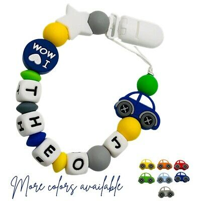 Personalized Dummy Clip Silicon Bead Pacifier Holder Baby Boys Girl ~ Car 🚗