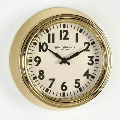 Small Gold Wm. Widdop Deep Metal Case Clear Number Wall Clock 22cm in Diameter