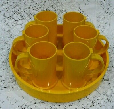 Vintage Mid Century Gunnar Cyren for Dansk, Yellow Plastic Tray with 5 Mugs