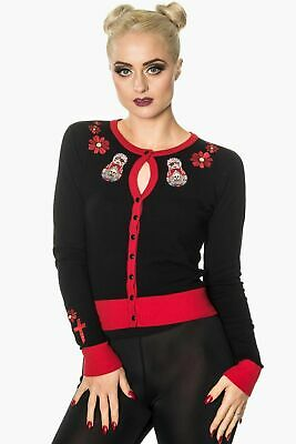 Banned Skull Rose cardigan rockabilly goth S M L XL RRP £34