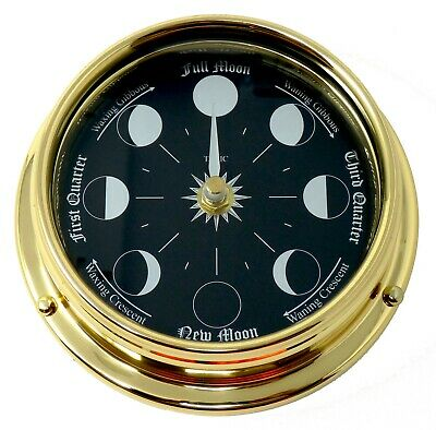 Handmade Prestige Moon Phase Clock in Solid Brass With A Jet Black Dial