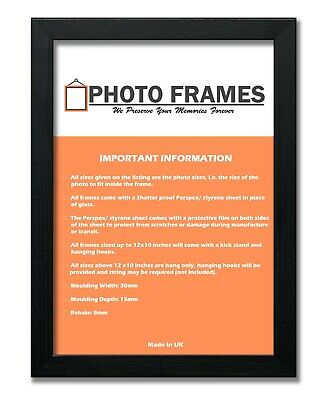 Black Photo Frame With Mounts Flat Photo Frame Wood Effect Picture Poster Frames