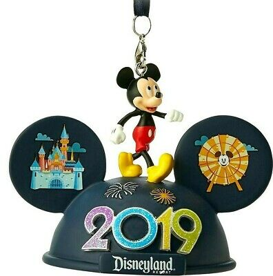 Disney Parks 2019 Disneyland Mickey Mouse Light-Up Ear Hat Christmas Ornament
