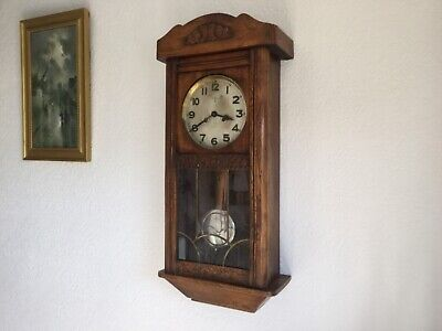 antique large German  art deco wall clock 31 inches tall  with ting tong chimes