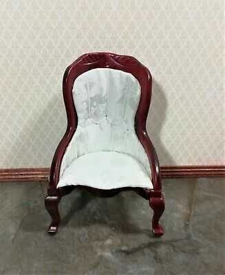 Dollhouse Miniature Chair Victorian White Mahogany Finish 1:12 Scale Furniture