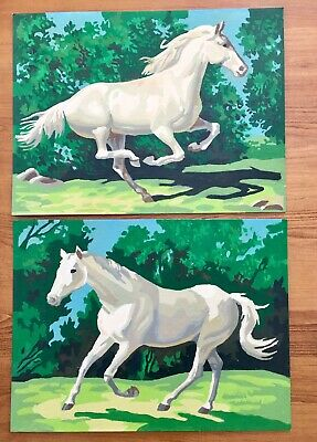 Vintage Paint by Number Paintings Horses Set Of Two