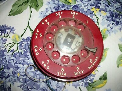 Red Western Electric Rotary Phone Dial , For Parts WORKS,  Parts!!