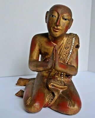 Antique Gilt Lacquer Wooden Burmese Kneeling Monk with Coloured Glass Inlay
