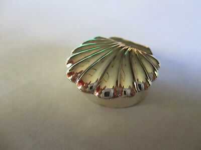 Sterling Silver 925 Pill Box oval sea shell top 1 1/8 wide 3/8 high