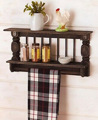 Black Antique-Finish Spindle Wall Shelf Towel Bar Kitchen Bathroom Storage