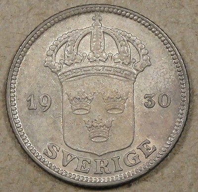Sweden 1930 50 Ore Lightly Circulated Coin with Luster