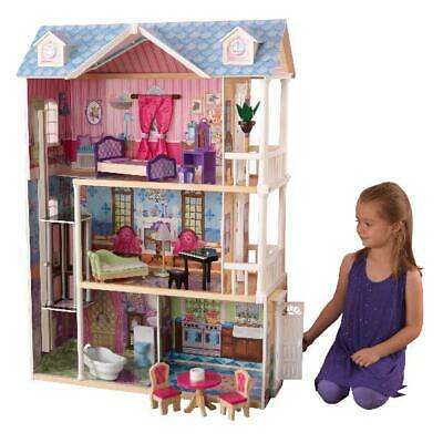 KidKraft My Dreamy Dollhouse with 14 accessories 4 Ft  Tall Gliding Elevator  Th