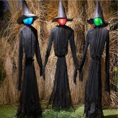 Set Of 3 Adjustable Life Size Lighted Tall Witch Color Changing For HALLOWEEN